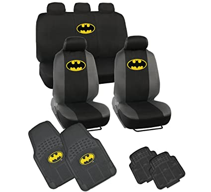 Batman Car Seat Covers 4 PC Rubber Floor Mats
