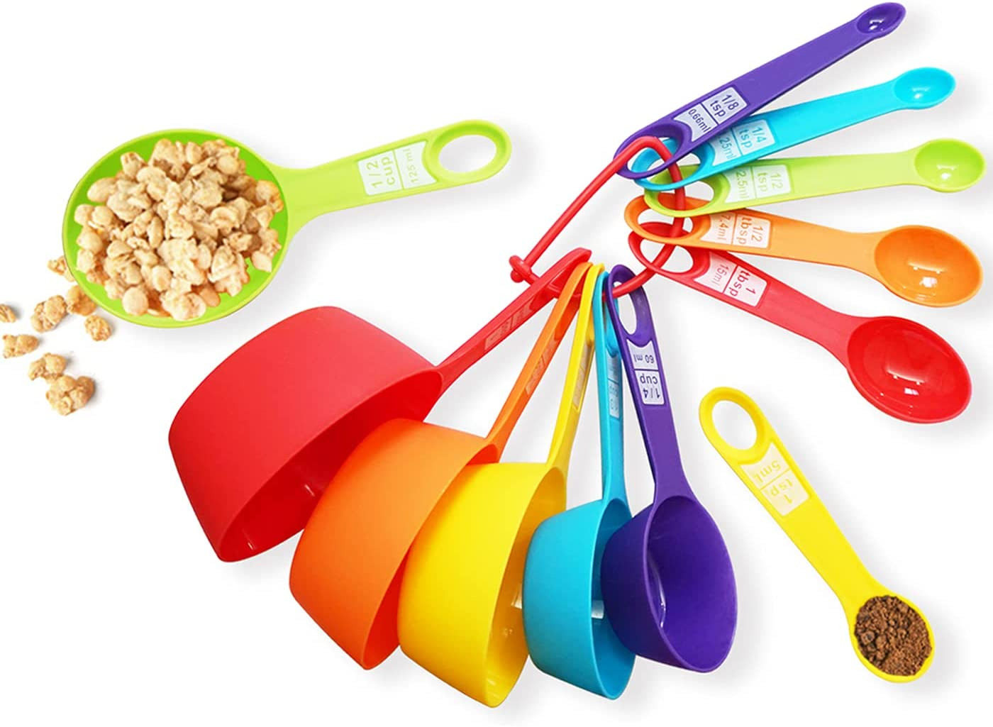 12 Piece Measuring Cups and Spoons Set, Colored Kitchen Measure Tools, Durable Nesting Cups and Spoons for Dry and Liquid, Dishwasher Safe: Kitchen & Dining