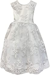 7150c8382 Petite Adele Big Girls White Satin Lace Tea Length Communion Dress 8-16