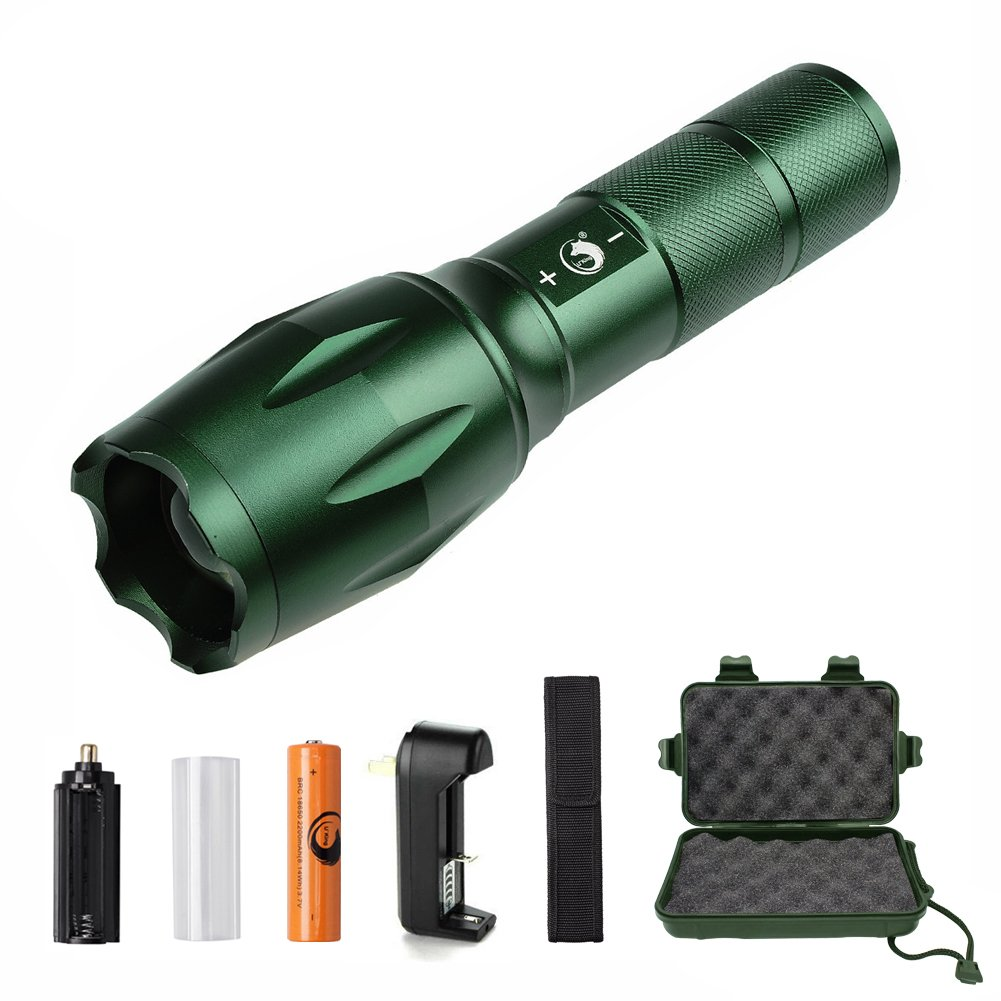 U`King Super Bright Handheld LED Flashlight with Adjustable Focus and 5 Light Mode LED Tactical Flashlight, 1000 Lumen Rechargeable Flashlight by (Green, A)