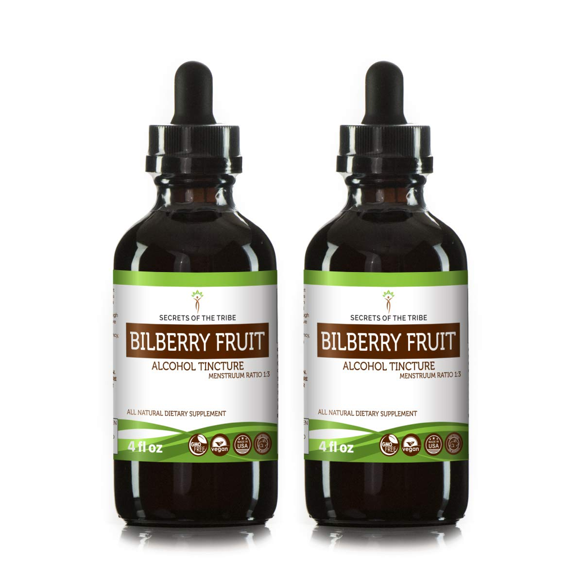 Bilberry Fruit Alcohol Tincture Liquid Extract, Organic Bilberry (Vaccinium Myrtillus) Dried Fruit Tincture Supplement (2x4 fl oz)