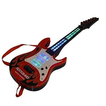 MRKE Guitarra Electrica Niños 4 Cuerdas Guitarra Juguete con Luces y ...