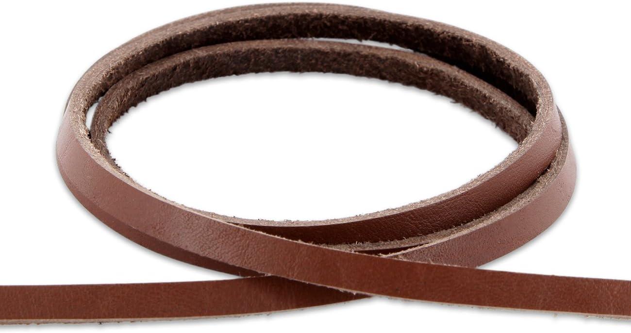 L/änge AURORIS 1m Lederband flach 5x2 mm aus Rindsleder cognac-braun Variante