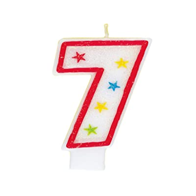 Glitter Number 7 Birthday Candle & Happy Birthday Cake Topper: Childrens Party Plates: Kitchen & Dining