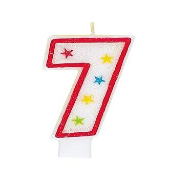 Número 7 brillo cumpleaños Vela y decoración de la torta del feliz cumpleaños