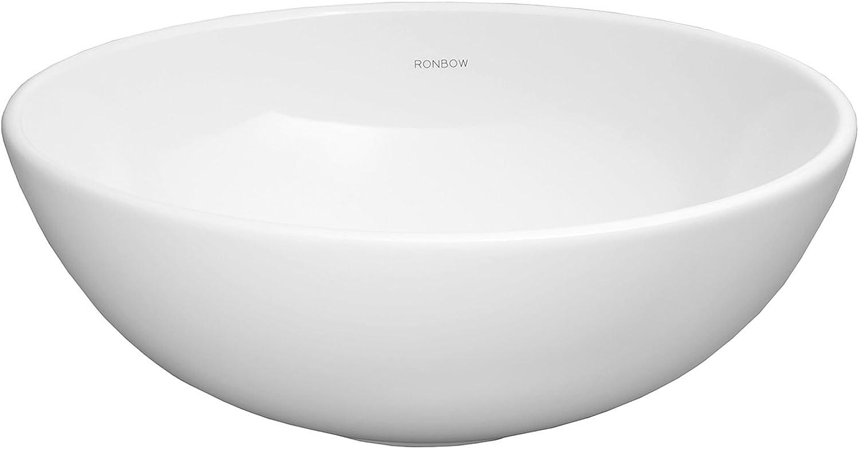 Ronbow Essentials Contour 15 Inch Round Ceramic Vessel Bathroom Sink In White 200007 Wh