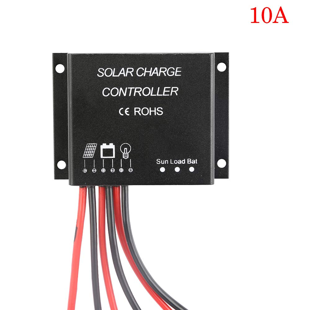Dienspeak 10A Solar Panel Charge Controller Battery PWM 12V 24V Waterproof IP67 Overload Protection LED Bar