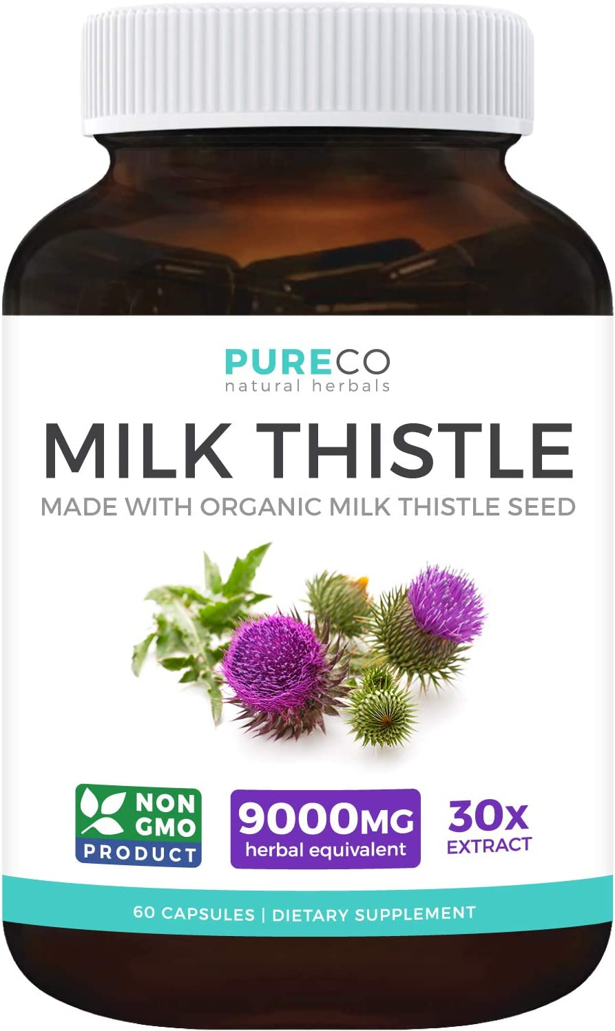 Amazon.com: Organic Milk Thistle Extract (80% Silymarin) Super-Concentrated  for 9,000mg of Milk Thistle Seed Power: Supports Liver Cleanse, Detox &  Health - Vegan - 60 Capsules (Pills): Health & Personal Care