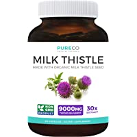 Organic Milk Thistle Extract (80% Silymarin) Super-Concentrated for 9,000mg of Milk Thistle Seed Power: Supports Liver…