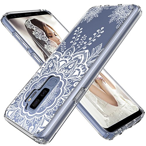 LK Case for Galaxy S9 Plus, [Shock Absorbing] White Henna Mandala Floral Lace Clear Design Printed Air Hybrid with TPU Bumper Protective Case Cover for Samsung Galaxy S9 Plus - Clear