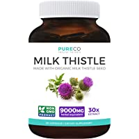 Organic Milk Thistle Extract (80% Silymarin) Super-Concentrated for 9,000mg of Milk...