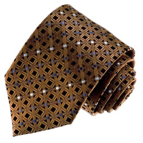 LORENZO CANA Luxury Italian 100% Silk Neck Tie Black Brown White Checks 77092