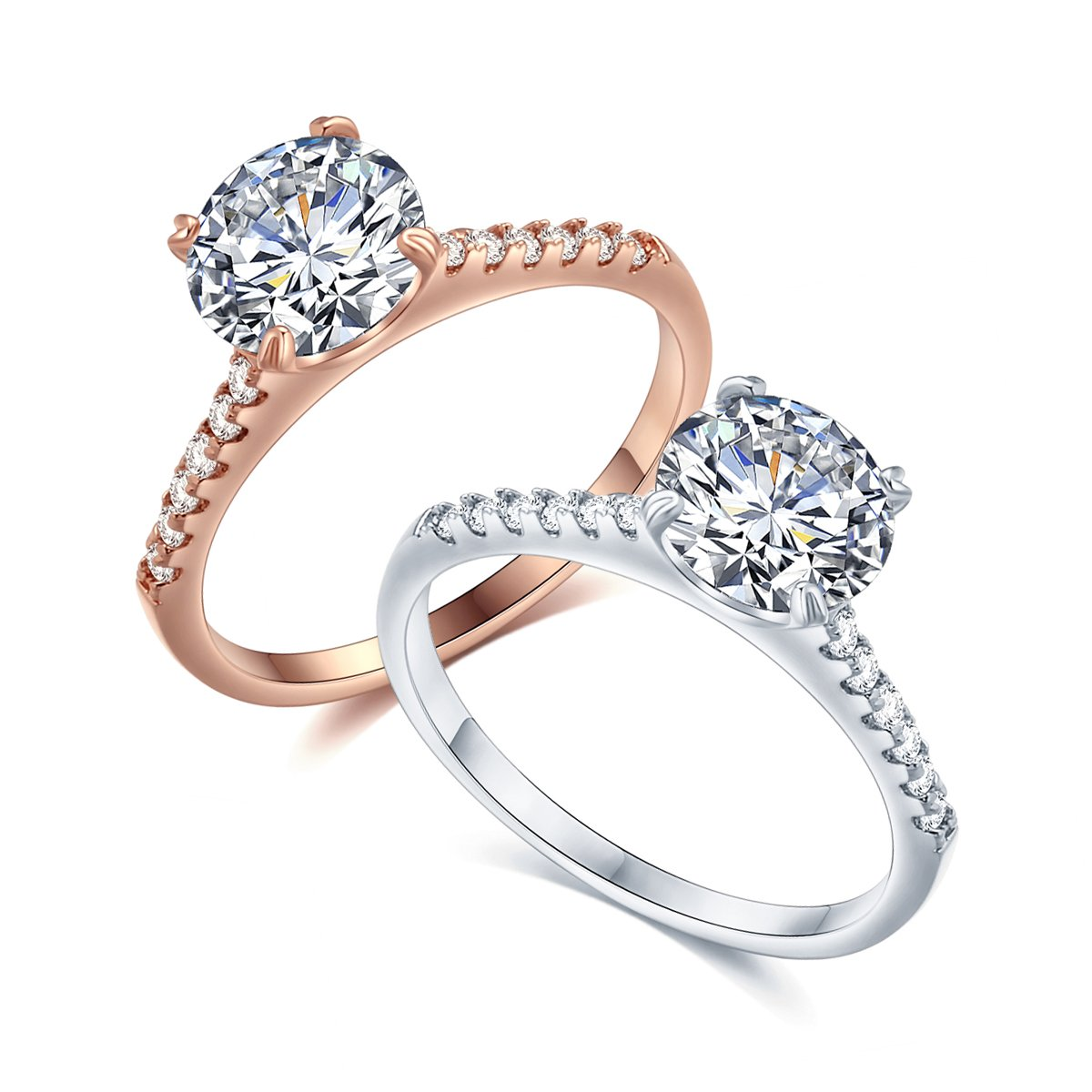 Round Cut Aaa Cubic Zirconia Stone Sterling Silverrose Goldplated Bronze Base Engagement Ring Wedding Promise Rings For Women Life Time Warranty: Silver Rose Ring Wedding At Websimilar.org