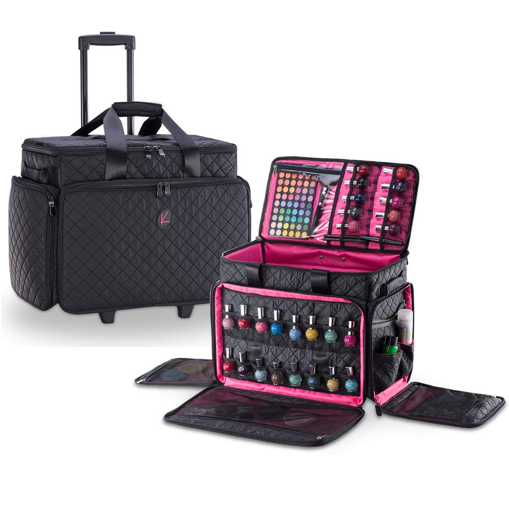 Kiota Professional Makeup Artist Soft Case Trolley with Fold-down Compartments (Midnight Black)