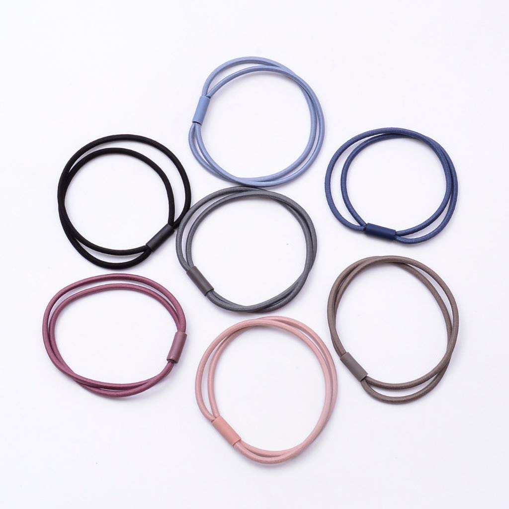 50Pcs Elastic Hair Bands Rubber Hair Ties For Women KCPer Hair Tie Bracelet//No Metal Hair Bands//No Crease Ouchless Ponytail