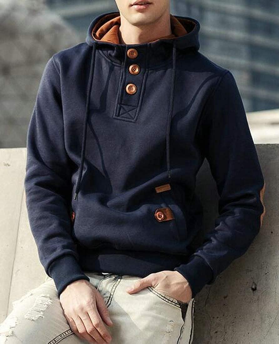Macondoo Men Solid Color Pullover Hoodie Top Long Sleeve Sweatshirts