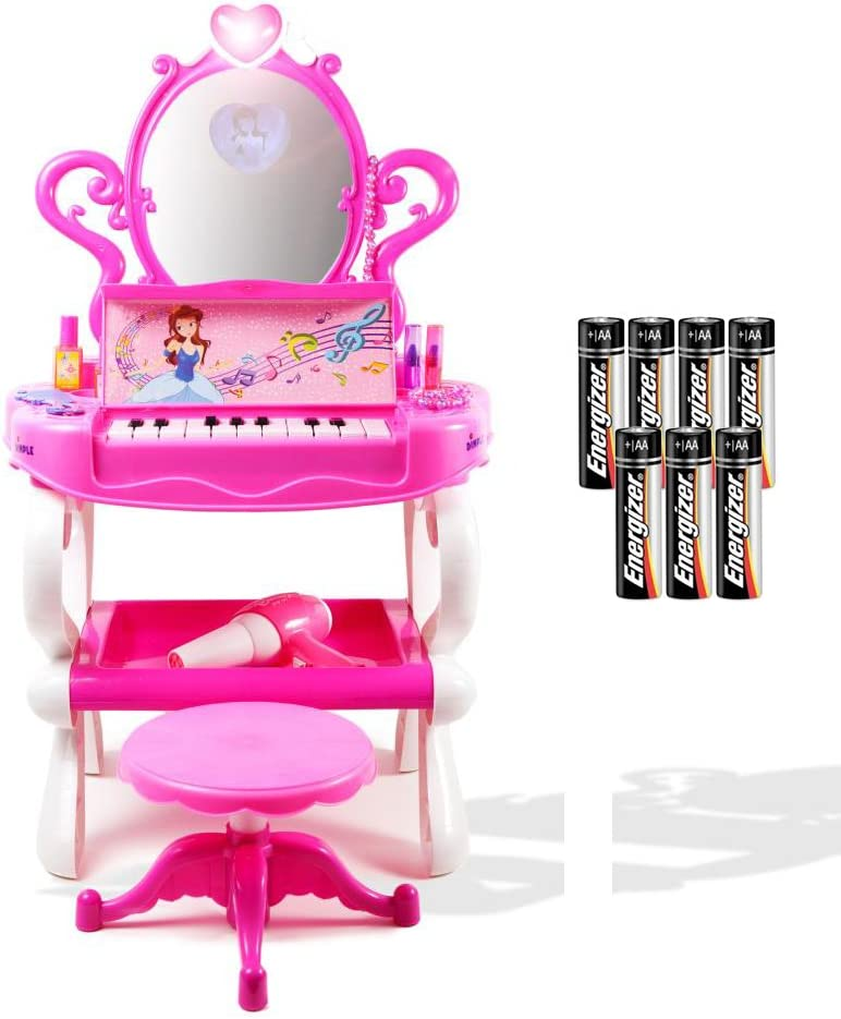 Amazon Com Dimple Girls Princess Toy Vanity Set With Piano