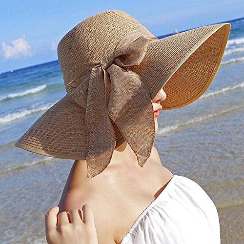 OULII Summer Floppy Beach Straw Hats Bowknot Caps Wide Larege Brim Caps for Women(Khaki)