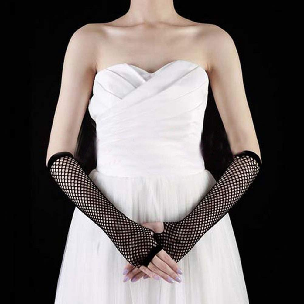 qingsb Punk Lady Disco Dance Costume Lace Fingerless Mesh Hollow Fishnet Gloves Black