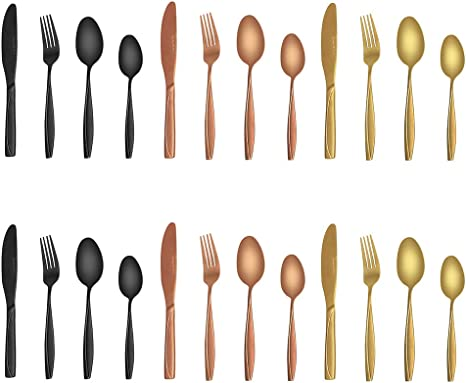Vintage Kitchen Cooking Utensils GoldCopper Painted Wooden Handles Made in USA Stainless Steel Set of 6