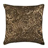 "Designer Gold Euro Shams Covers, 26""x26"" Euro Pillow Cases, Spiral Sequins Euro Pillow Shams, Silk Euro Shams, Geometric Modern Euro Shams - Golden Touch"