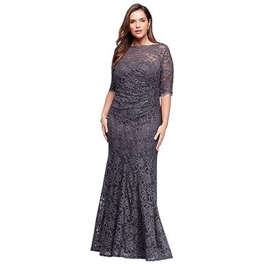 David\'s Bridal Plus Size Illusion Glitter Lace Long Mermaid Mother ...