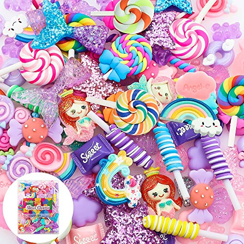 Holicolor 120pcs Cute Slime Charms Assorted Purple Candy Sweets Resin Flatback Slime Beads Making Supplies for DIY Craft Making and Ornament Scrapbooking