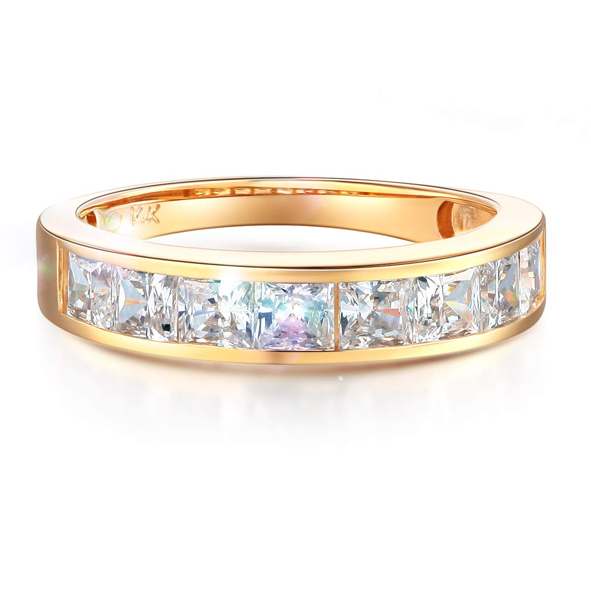 Wellingsale Ladies Solid 14k Yellow Gold CZ Cubic Zirconia Channel Set Wedding Band - Size 7