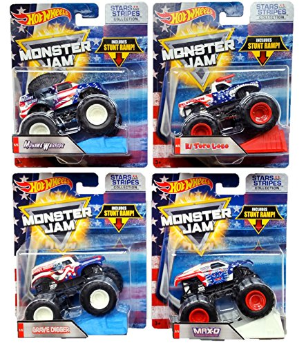 Hot Wheels Monster Jam Stars and Stripes Bundle of 4: Grave Digger, El Toro Loco, Max-D and Mohawk Warrior with Stunt Ramp