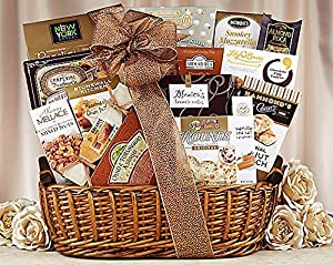 Gourmet Foods Gift Baskets, Sweet and Savory Collection, This basket is filled with Popcornopolis kettle corn, twice-baked roasted garlic crackers, asiago cheese spread, Brown & Haley almond roca, vanilla sea salt caramels, Stonewall Kitchen roasted garli