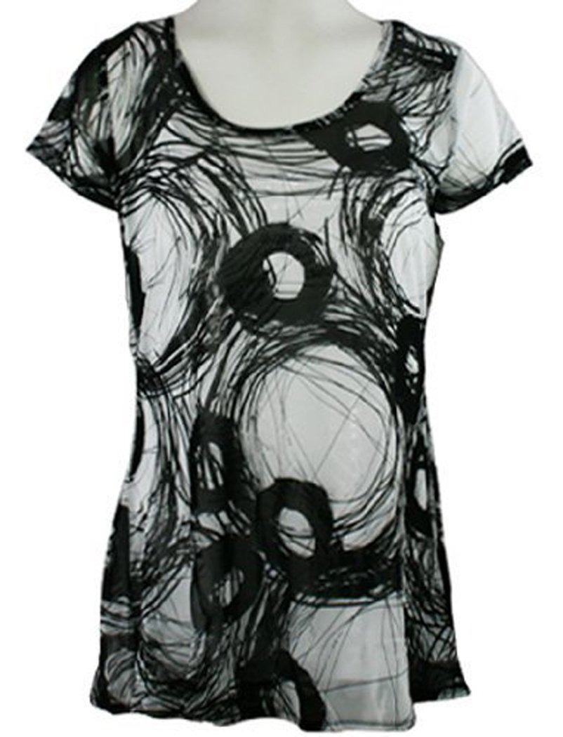 Lynn Ritchie Black White Swirls, Short Slv Scoop Neck Geometric Print by Lynn Ritchie