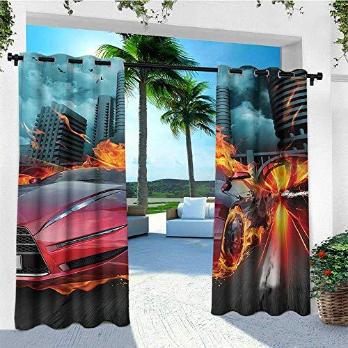 leinuoyi Cars, Outdoor Curtain Kit, Hot Red Concept Car in Flames Blazing Tires Building and Birds Speeding Fast, Outdoor Patio Curtains W72 x L96 Inch Red Orange -
