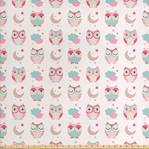 Owls Fabric by the Yard by Ambesonne, Owls Stars Moon Patterns in Feminine Soft Colors Symmetric Design Artwork, Decorative Fabric for Upholstery and Home Accents, Almond Green Pink - Owl Feminine Of