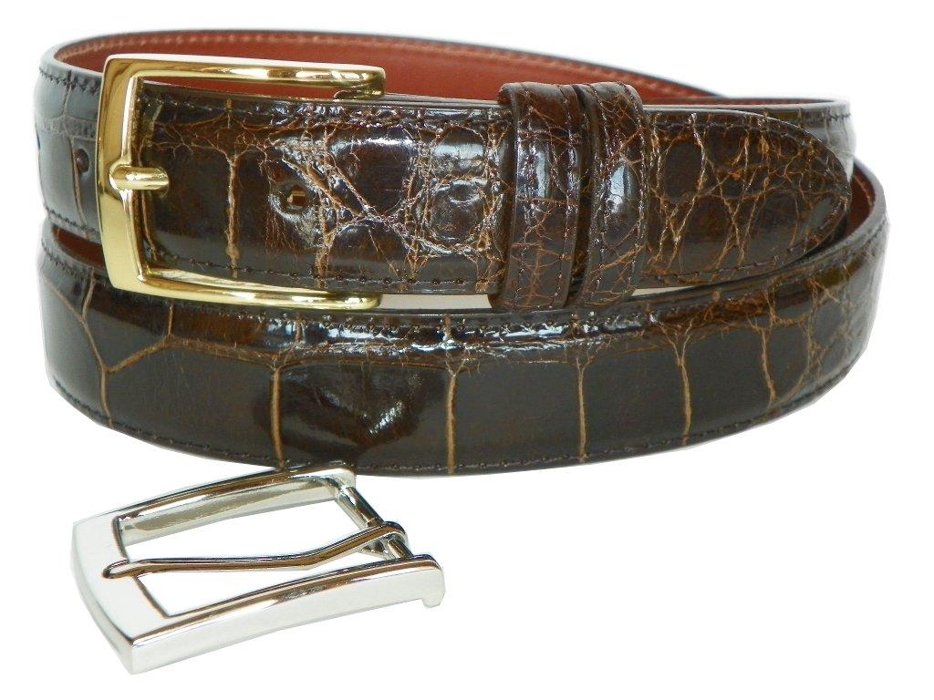 Genuine American Alligator Belt by Charles Underwood - 2 Classic Buckles-Chocolate-Size 34
