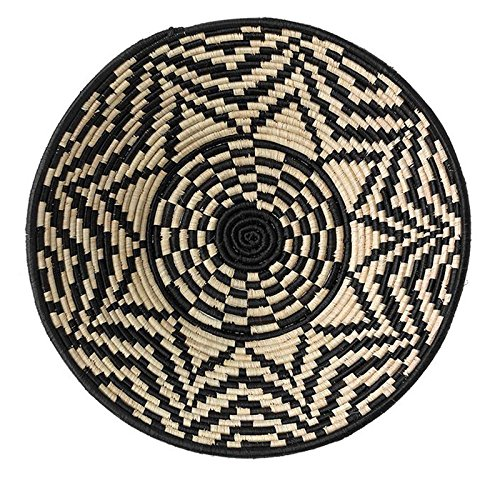 The Crabby Nook Black Starburst Design Fruit or Display African Basket Handwoven Home Decor