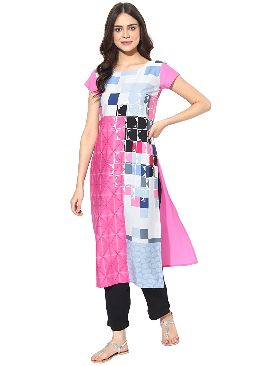 Vaamsi Women's Indian Tunic Top Crepe Kurti(PK1381_Pink_Free Size)