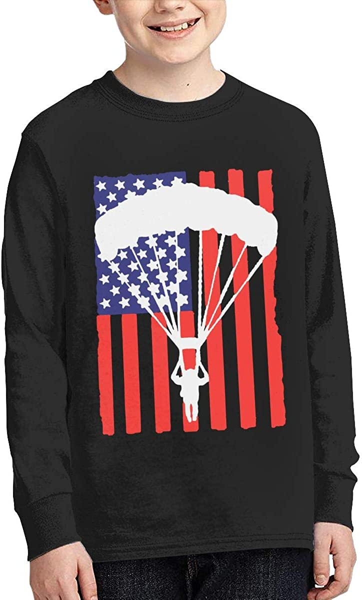 American Parachuting Skydiving USA Flag Youth Long Sleeve Tee Top for Boys Or Girls