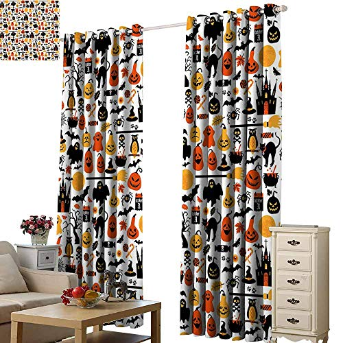 Beihai1Sun Blackout Curtains Halloween Halloween Icons Collection Candies Owls Castles Ghosts October 31 Theme Orange Yellow Black for Living Room Bed Room W72 x H108