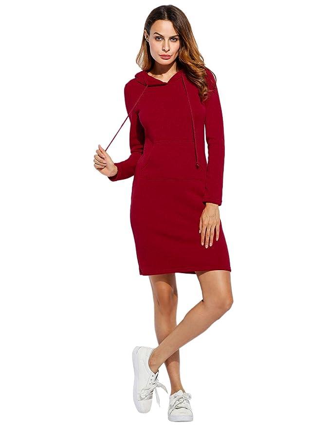 sholdnut Slim Fit Hoodie Dress Womens Sleeve Hooded Hoodies Dress with Kangaroo Pockets Slim Fit Midi Hoodie Dress Fashion Hoodies at Amazon Womens ...