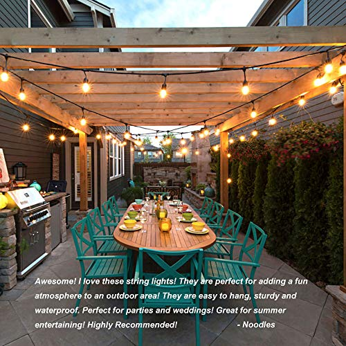 Classyke 48ft Indoor Outdoor String Lights for Patio Garden Yard Deck Cafe Dimmable Weatherproof Commercial Grade [UL Listed] - Incandescent by Classyke (Image #6)