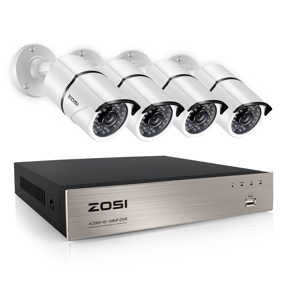 ZOSI 4CH FULL 1080P Video Security Camera System, 4 White Weatherproof 1920TVL 2.0MP Cameras,4 Channel 1080P HD-TVI DVR No Hard Disk (100ft Night Vision, Smartphone& PC Easy Remote Access)