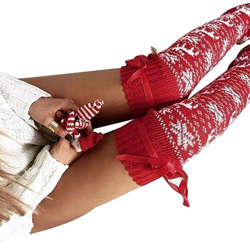 WanYang Mujeres Punto De Ganchillo Calcetín Legging Moda De Alta Del Muslo Sobre La Rodilla Calcetin...