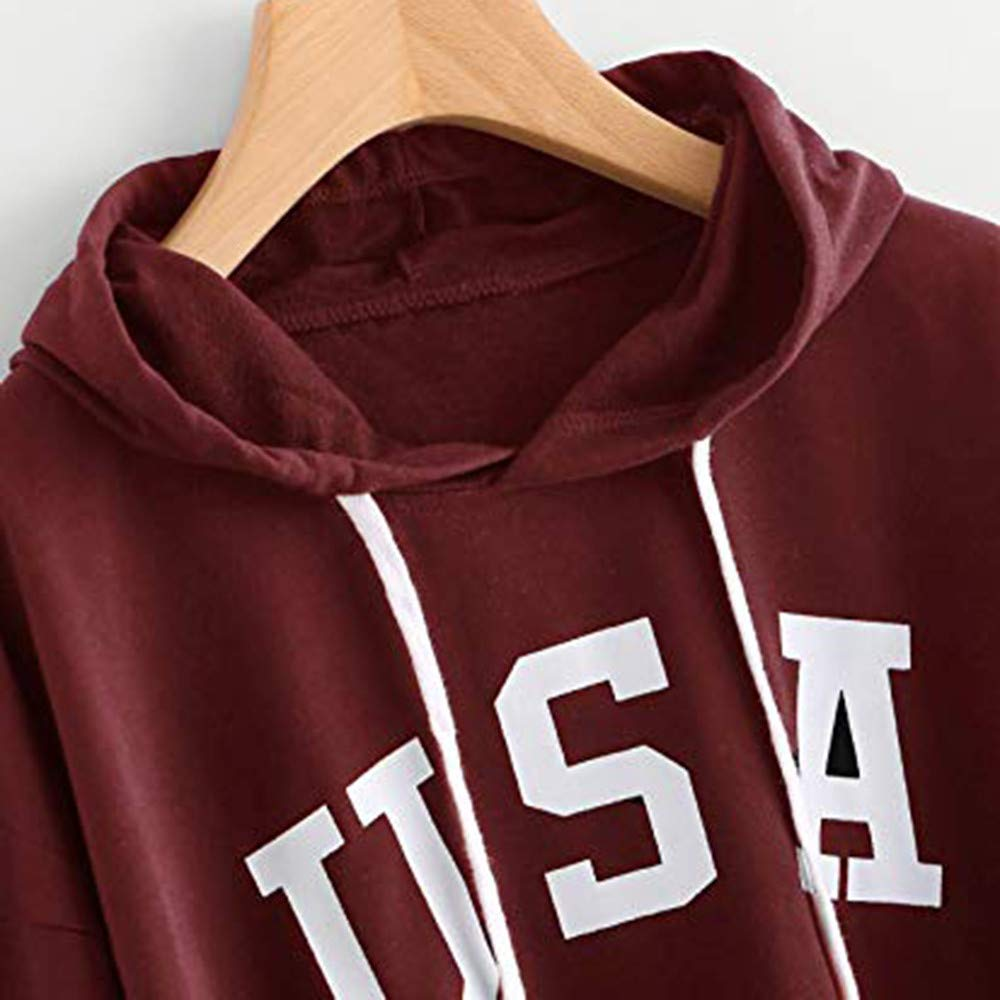 Todaies Womens Hoodie Letter Flag Printed Sweatshirt Long Sleeve Pullover Tops Blouse at Amazon Womens Clothing store:
