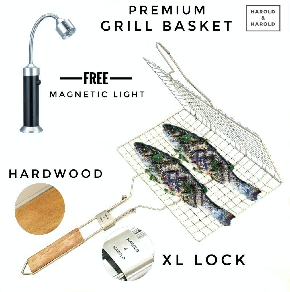 Harold & Harold Fish Grill Basket with Free Magnetic Barbecue Light. Kabob Grilling Basket & Grill Accesories Great for Salmon, Fish, Steak, Vegetables and Pork. Stainless Steel Grill Basket. by Harold & Harold