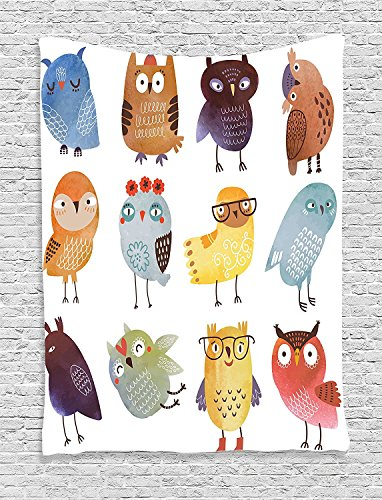 [Supersoft Fleece Throw Blanket Funny Collection Retro Hipster Bohemian Owls Birds Pattern Modern Fashion with Floral Fun Costumes Boho] (Katy Perry Haloween Costumes)
