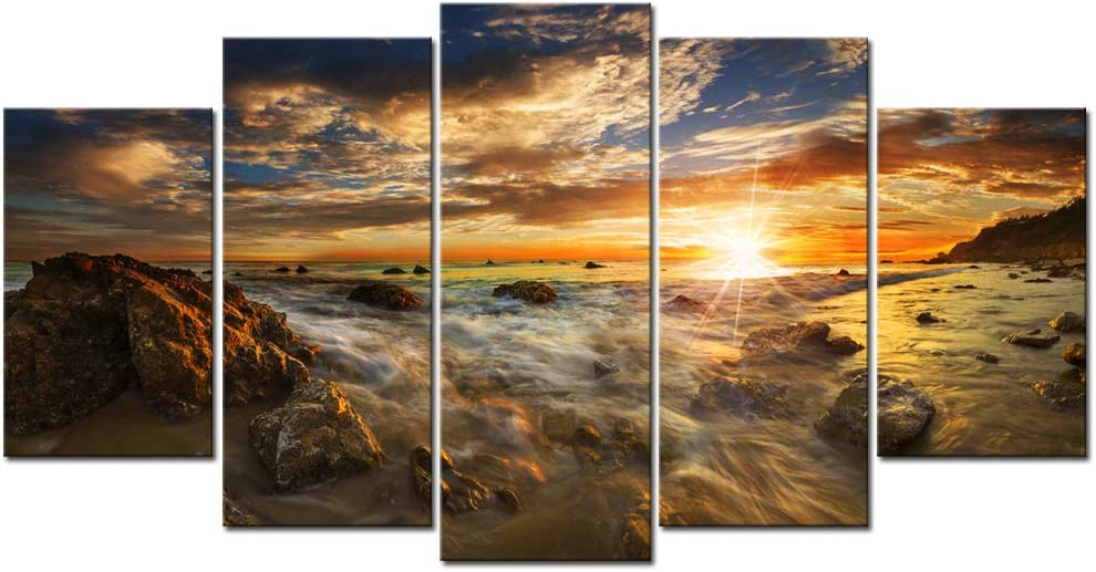 Nachic Wall - Large 5 Panel Wall Art Beautiful Gold Sunset Picture Photo Canvas Prints for Living Room Home Office Decoration Modern Sea Beach Ocean Landscape Painting Stretched Canvas Artwork