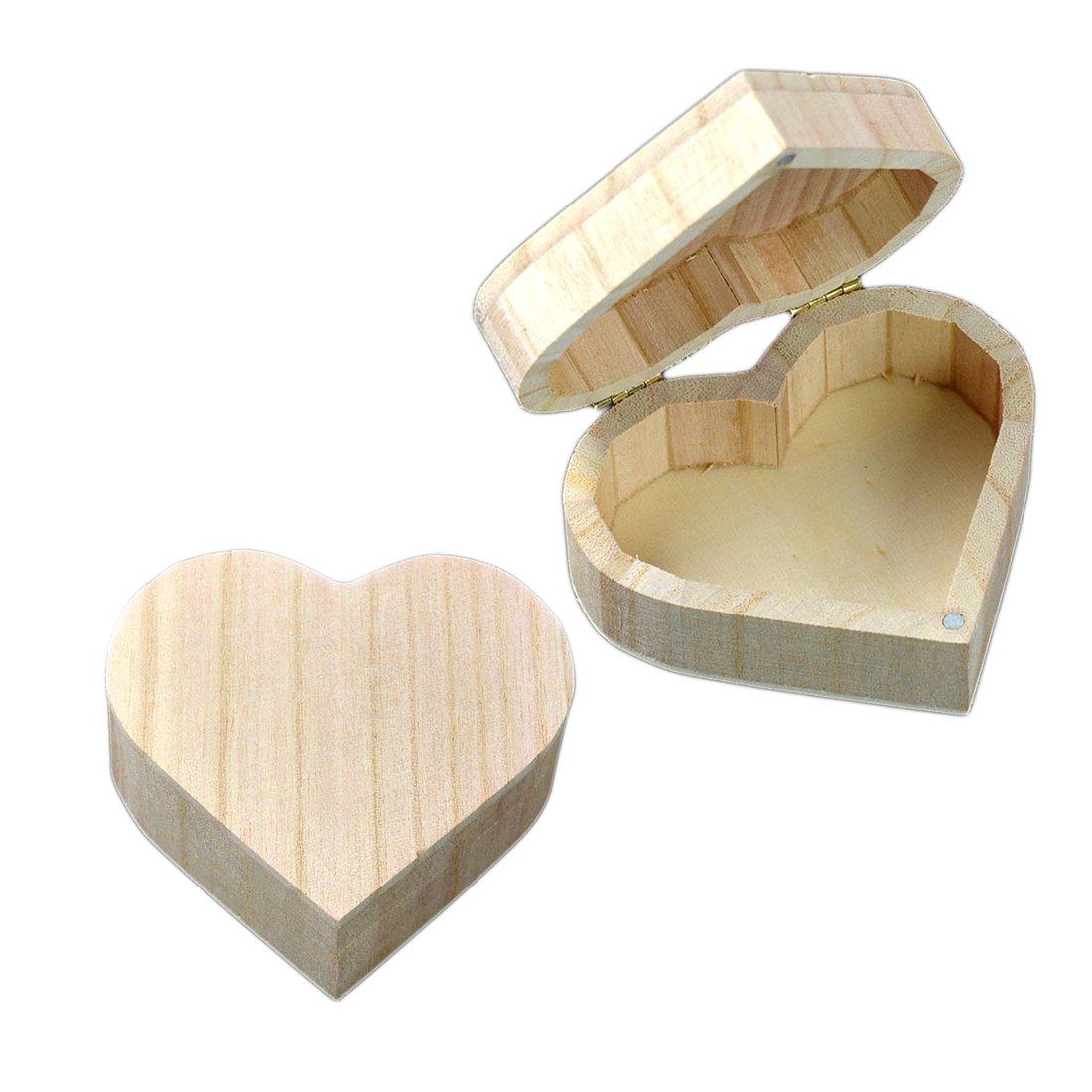 Joyero de madera en forma de corazón, regalo de bodas, para guardar maquillaje, pendientes, anillos