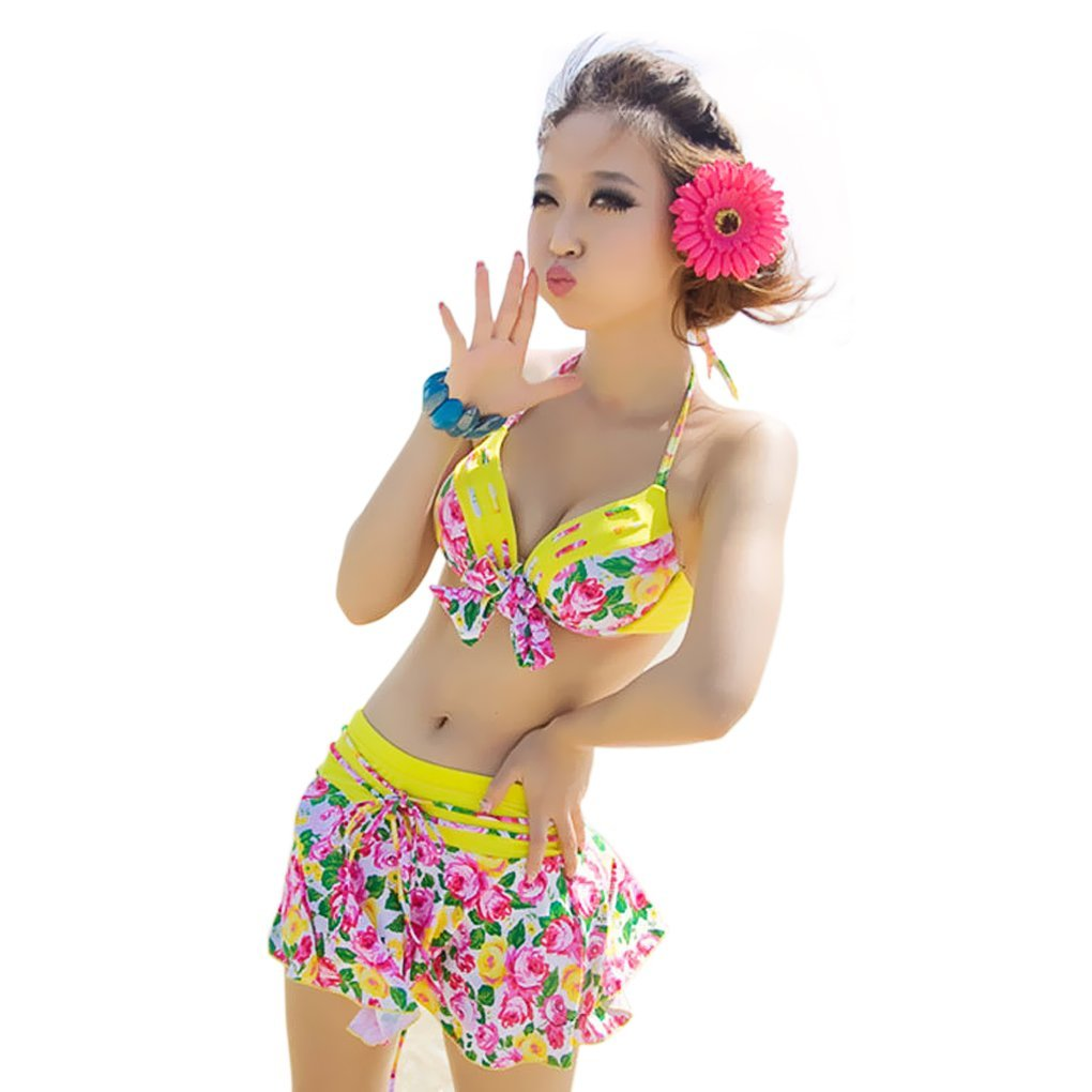 134709c562 Women Ladies Girls 3 Piece Summer Beach Wear Floral Halter Skrited Bikini  Bowknot Bandeau Padded Push up   Low-Rise Bottom   Sexy Wrap Skirt Cover up  ...