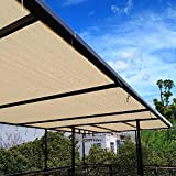 Ecover 90% Shade Cloth Wheat Sunblock Fabric Cut Edge with Free Cilps UV Resistant for Patio/Pergola/Canopy,4x10ft