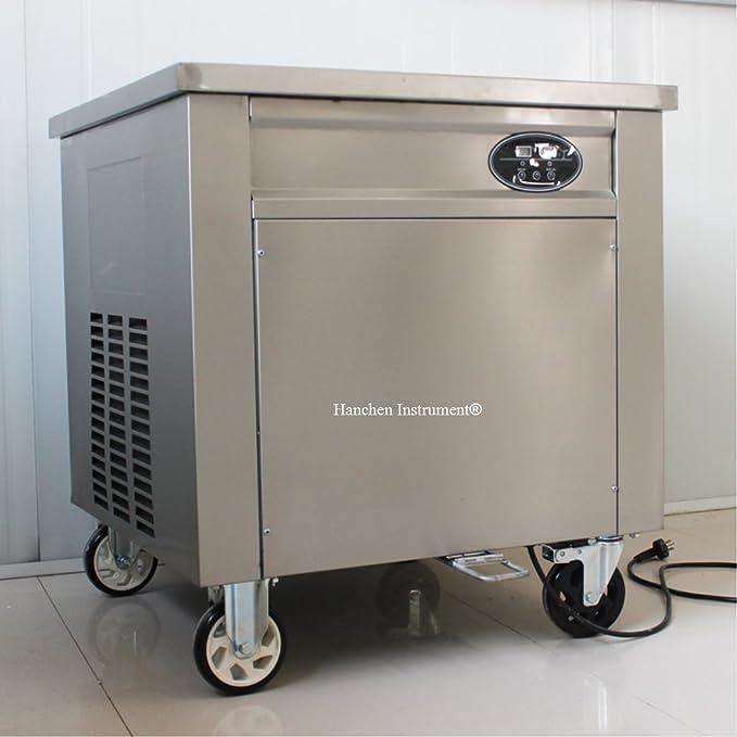 Thai frito hielo crema rollo eléctrica Panificadora para frutas, hielo, leche, yogur con panel de control: Amazon.es